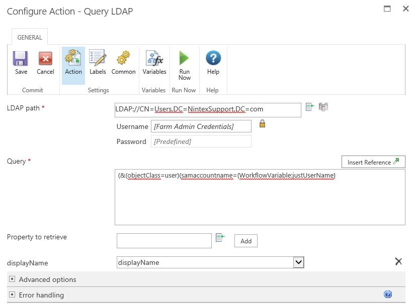 پیکربندی عملیات  Query LDAP