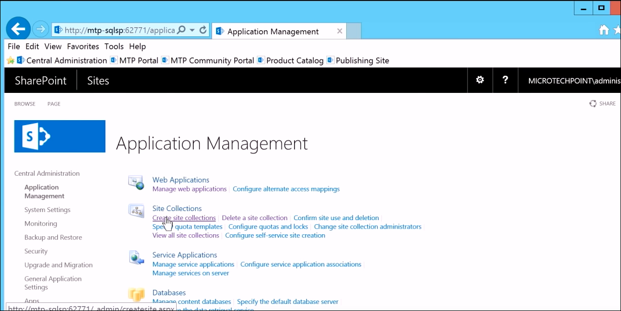 Create Site Collection Sharepoint
