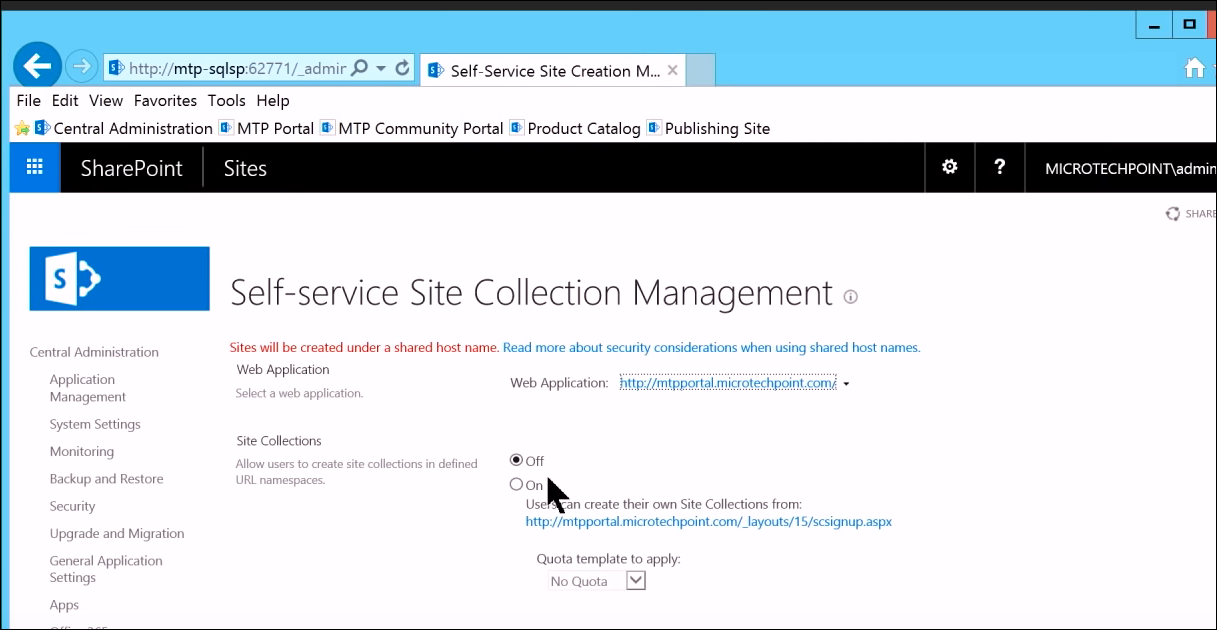 Self service site collection SharePoint
